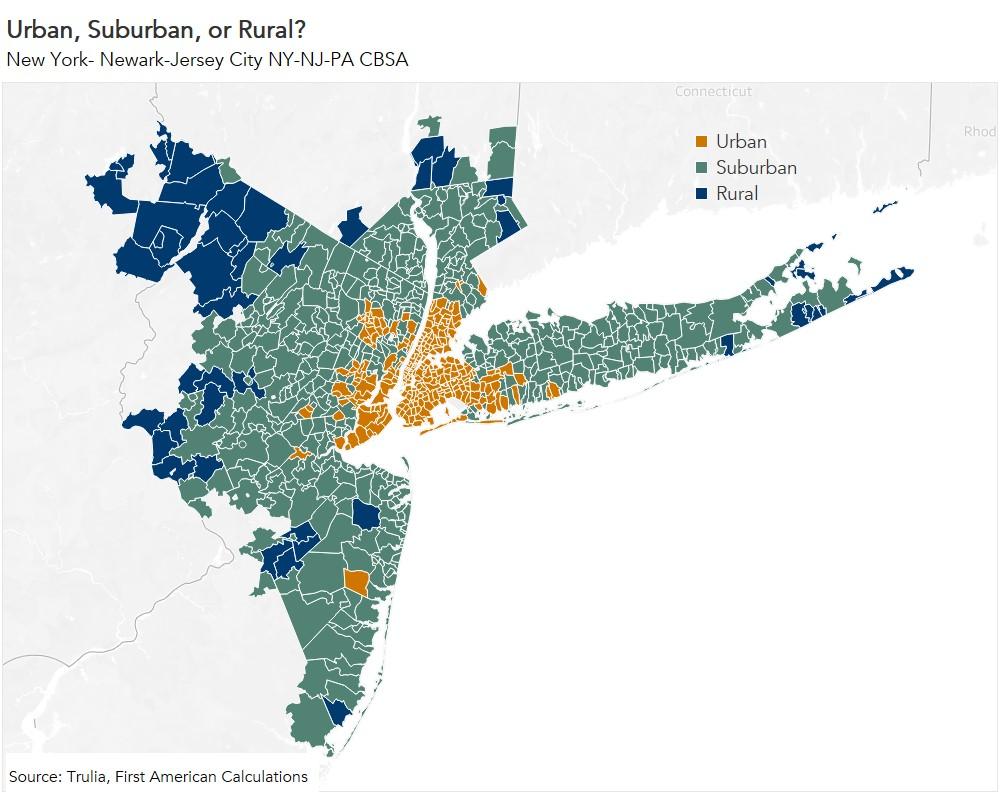 Urban, Suburban, or Rural New York-Jersey City Map